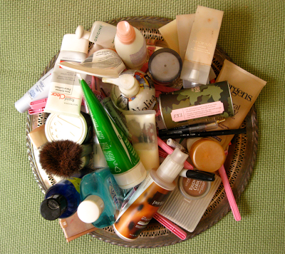 throwing out beauty products